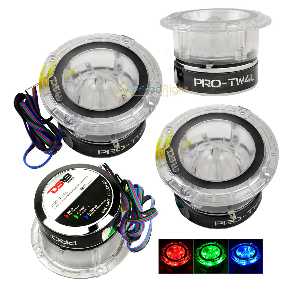 "4 pack PRO-TW4L DS18 1.75"" Super Bullet Tweeters 2400 Watts Max Power Color LEDs"