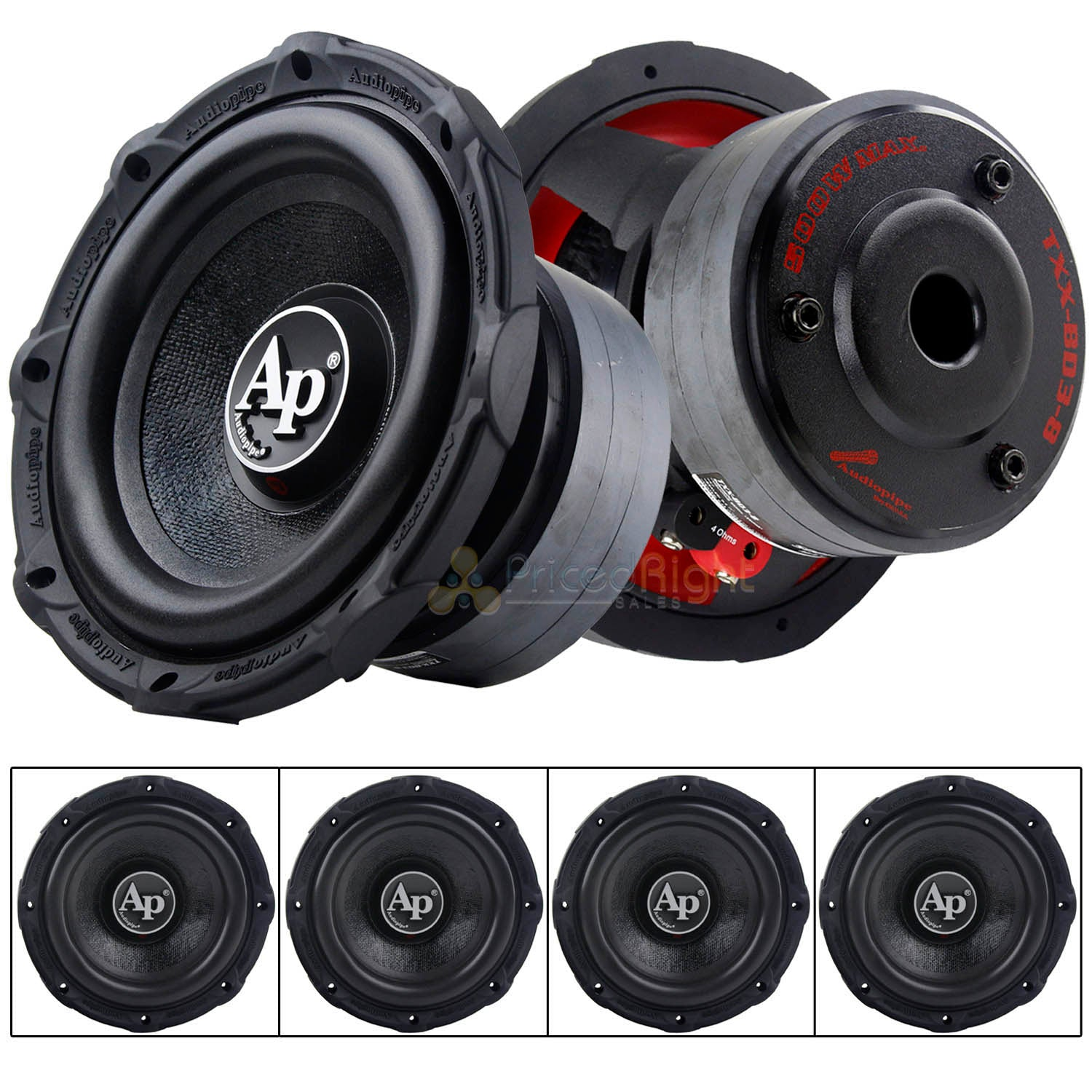 "4 Pack Audiopipe 8"" Subwoofers 500 Watts Max Single 4 Ohm Triple Stack TXX-BDC3-8"