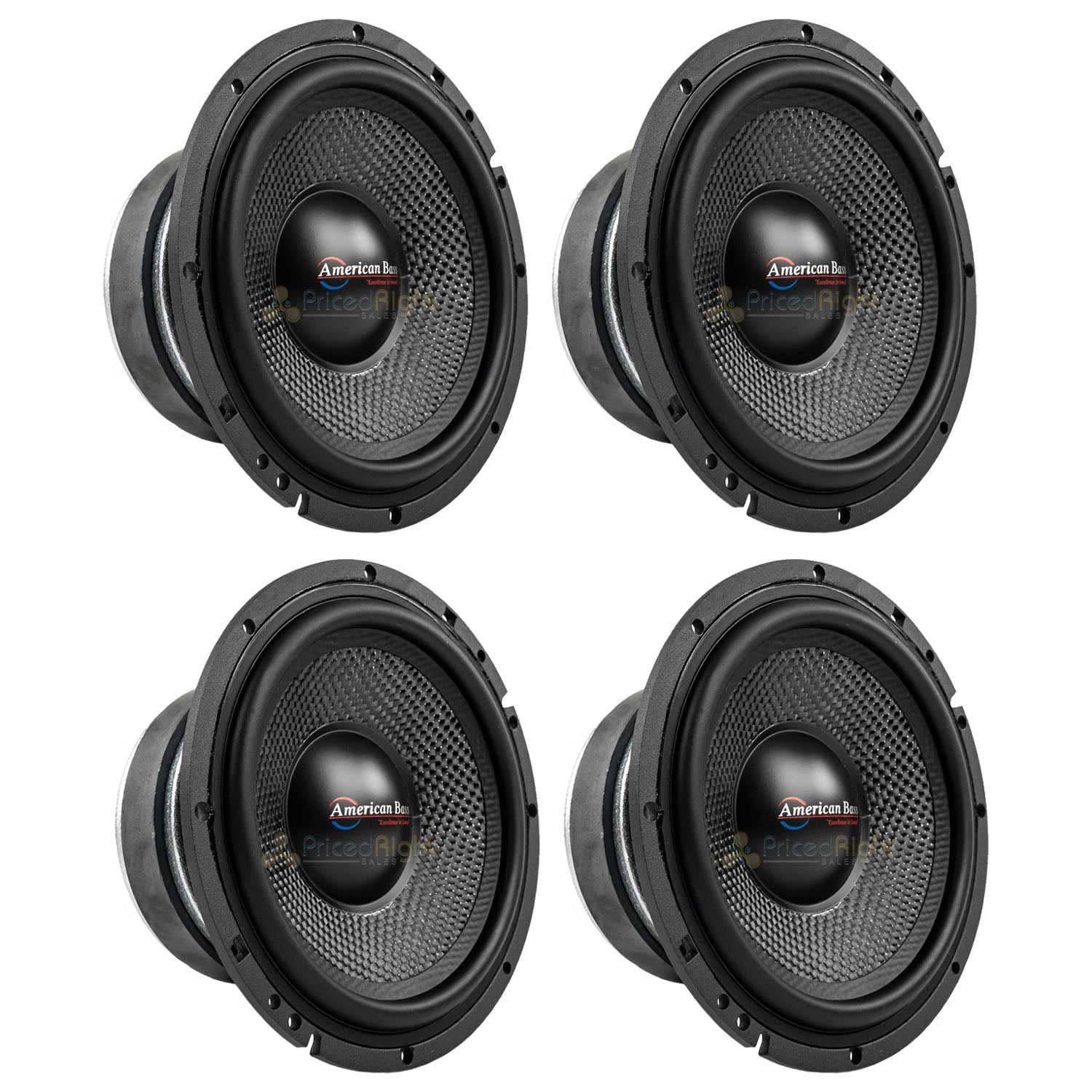 "American Bass VFL-65MB 6.5"" Midbass Car Speakers 4 Ohm 350W Max Open Back 4 Pack"