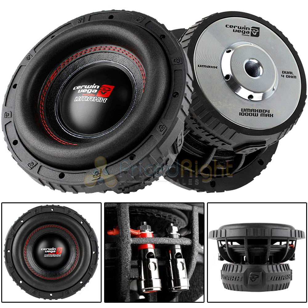 "Cerwin Vega 8"" Hi Output Subwoofer 1000 Watts Max Dual 4 Ohm Vmax Series 2 Pack"