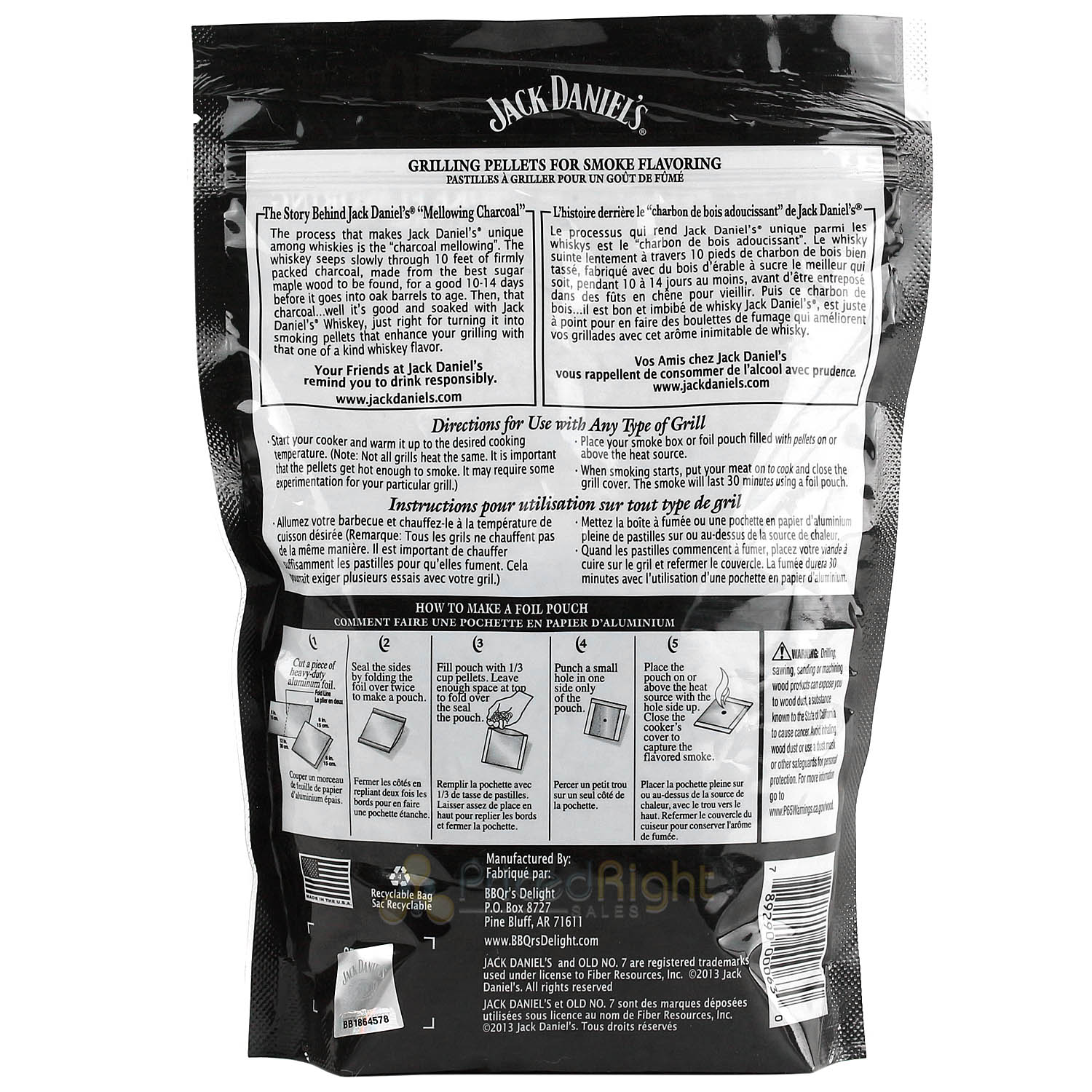 BBQr's Delight Jack Daniel's Pellet Blend 1lb Grilling Pellets 100% All Natural