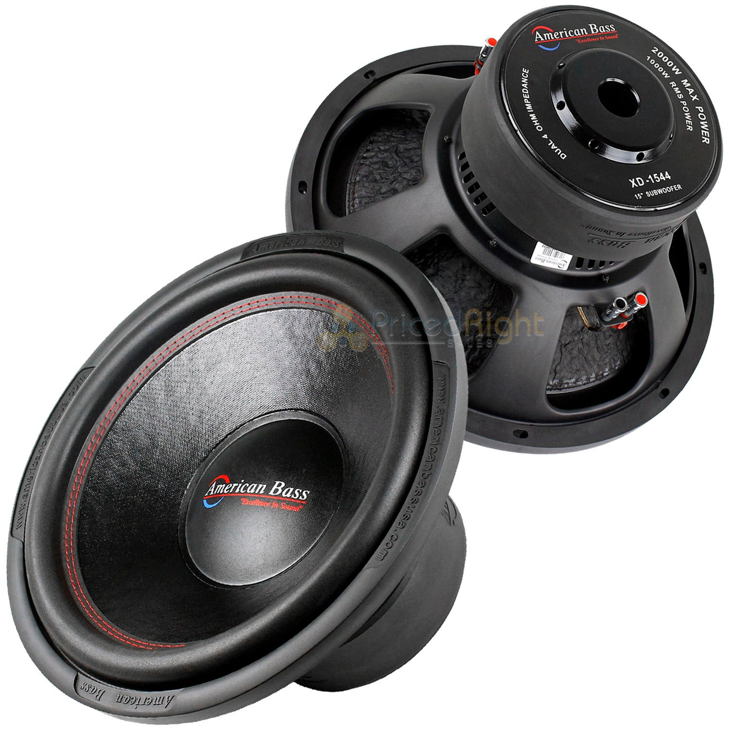 "2 American Bass 15"" Subwoofer Dual 4 Ohm 2000 Watts Max Car Audio Sub XD Series"