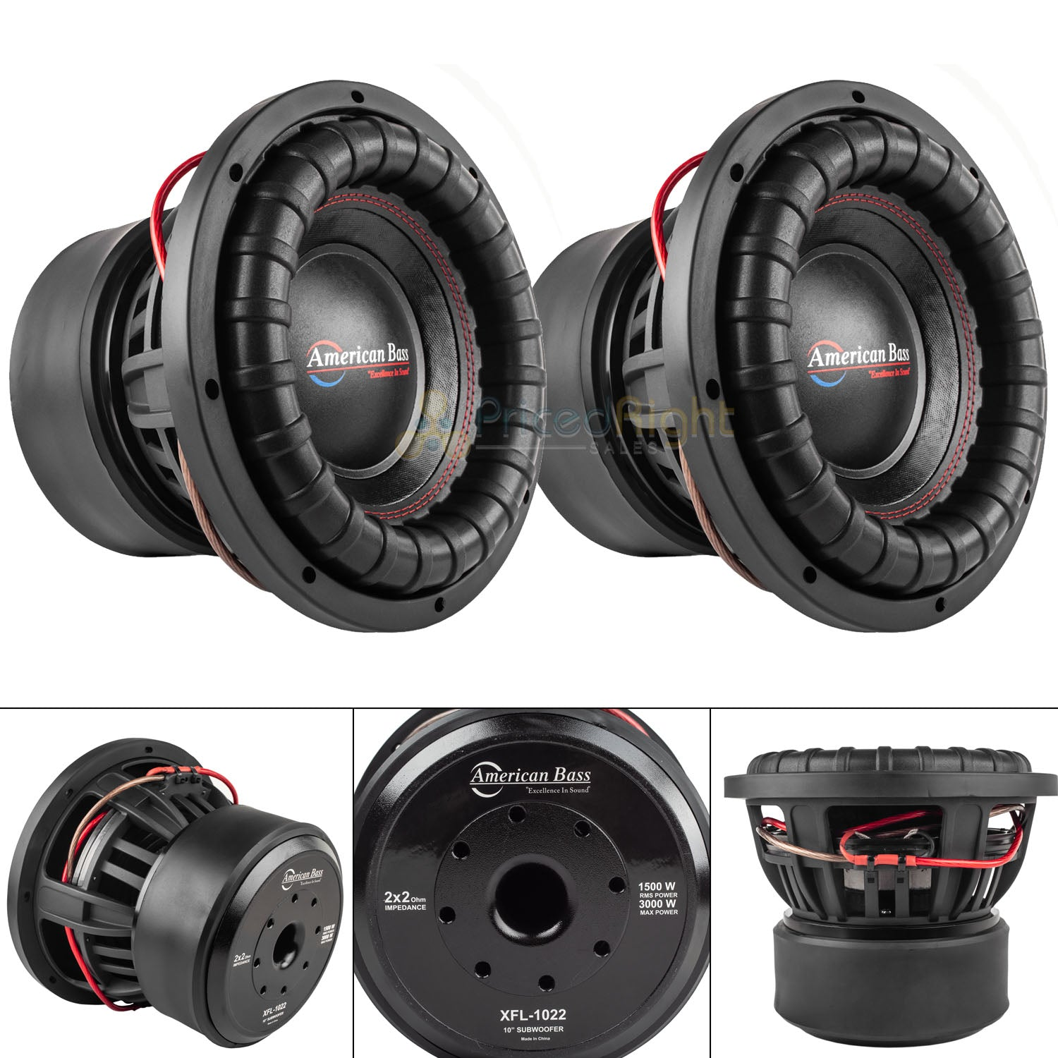 "American Bass 10"" Subwoofer Dual 2 Ohm 3000 Watts Max Car Audio Sub 2 Pack"