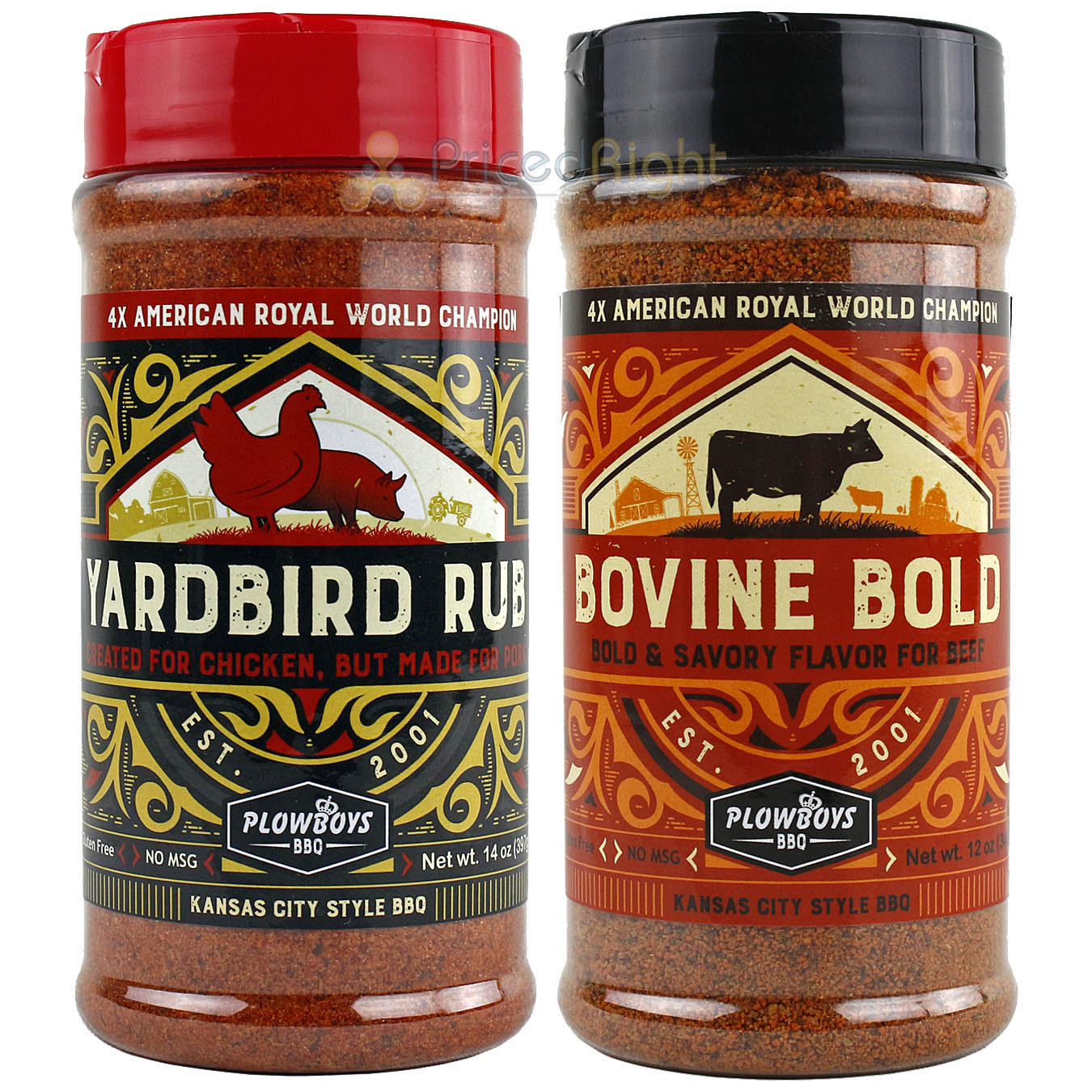 Plowboys BBQ Bovine Bold & Yardbird Seasoning Rub Award Winning Barbeque Rub