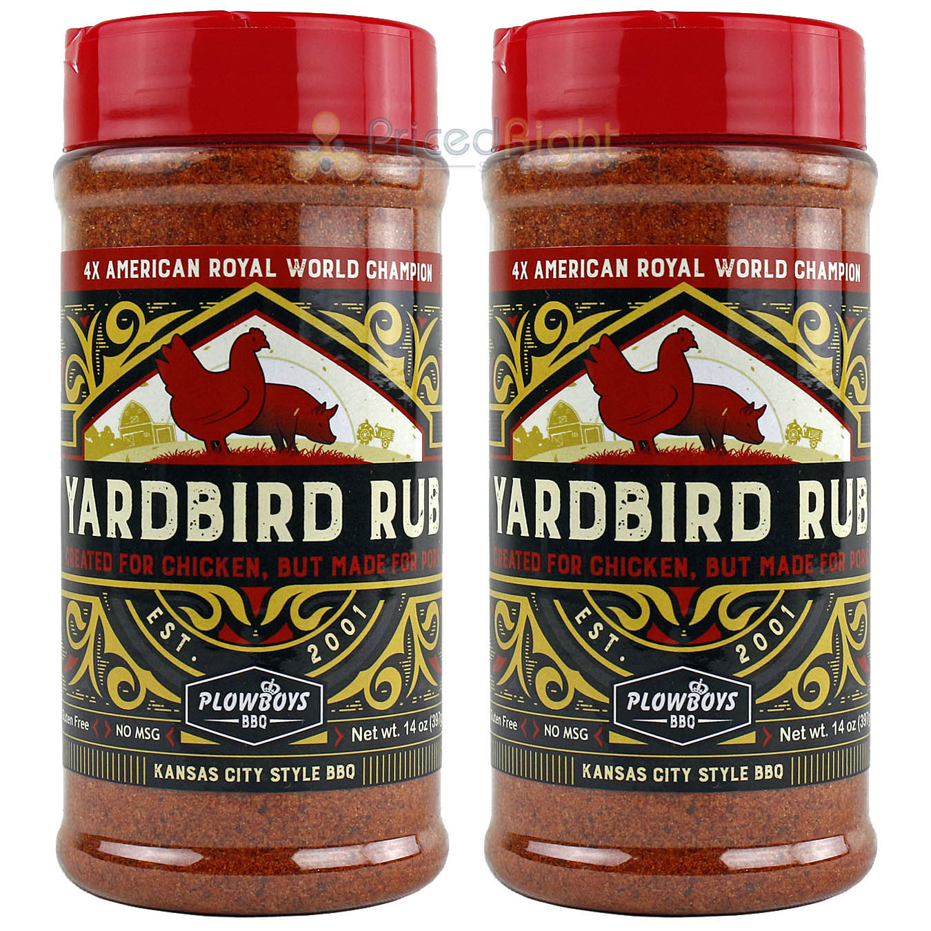 Plowboys 2 Pack BBQ Yardbird Seasoning Rub 14oz Award Winning Barbeque Meat Rub