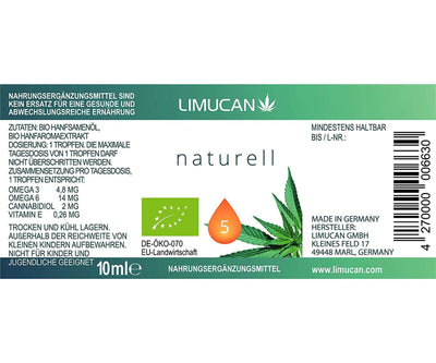 Limucan - Premium Bio Hanföl - mit 10 ml Inhalt - Voll-Spektrum Hanf Öl 4er Set - Made in Germany
