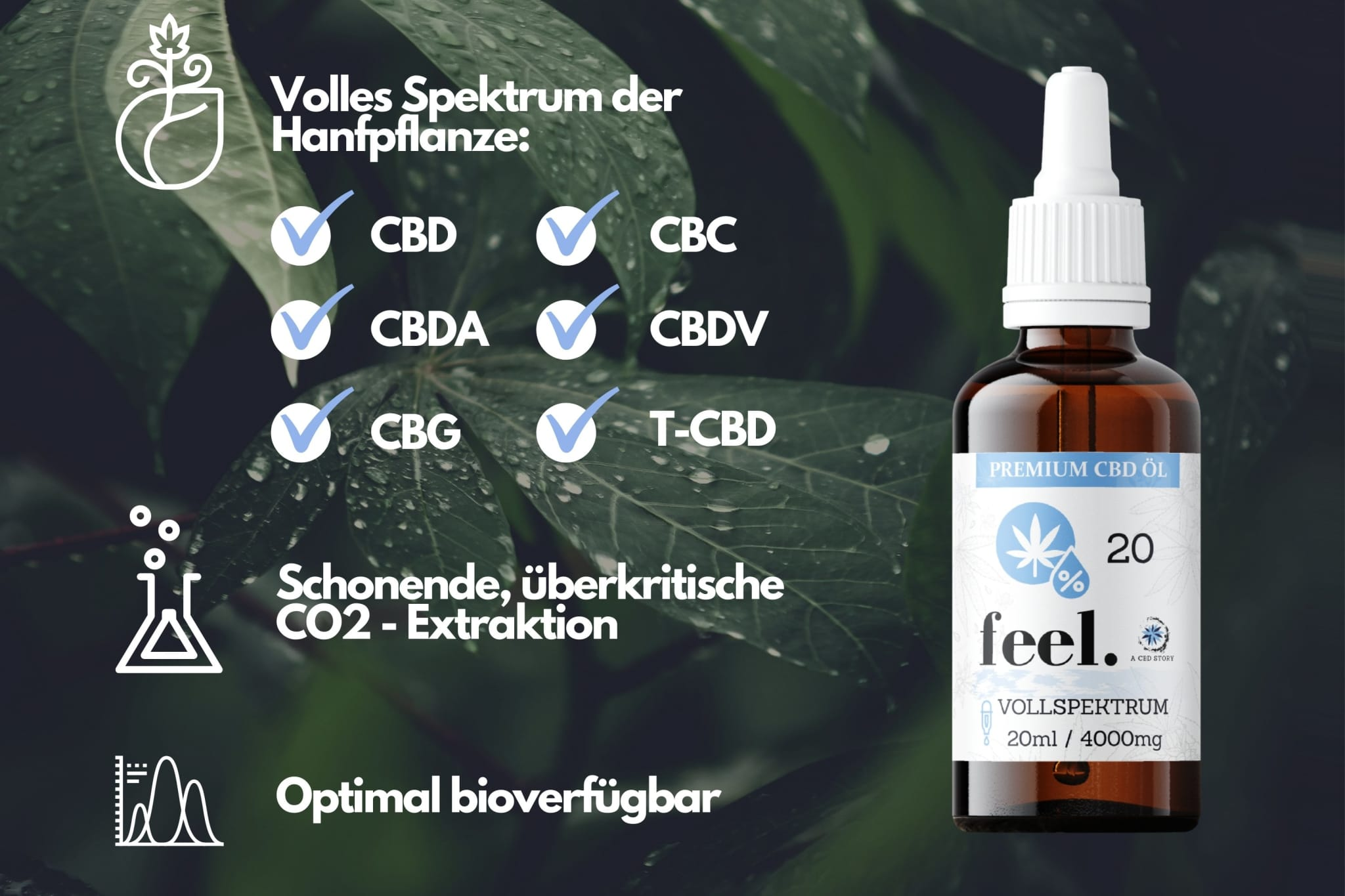 feel. Vollspektrum CBD Öl 20% - 20ml