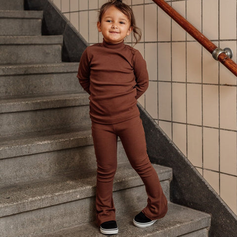 Flared Trousers Chocolate Brown