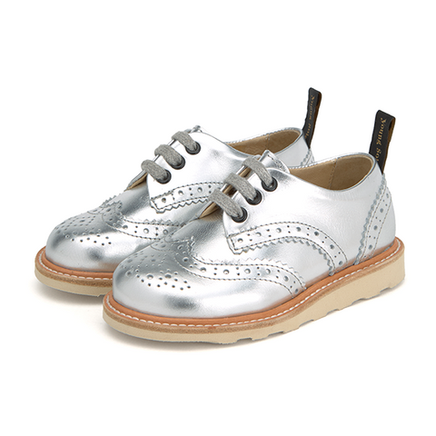 Baby Brando Brogue Shoe Silver Leather