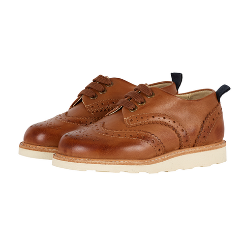 Baby Brando Brogue Shoe Tan Burnished Leather