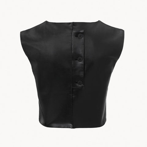 Vegea Leather Look Crop Top