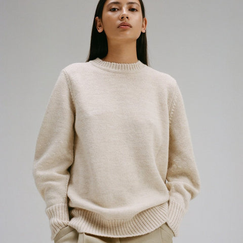 Oversized Knitted Sweater with Curved Sleeves
