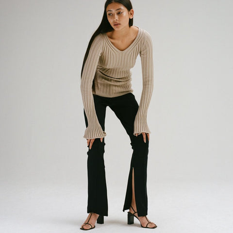 Recycled Polyester Trousers with Slits