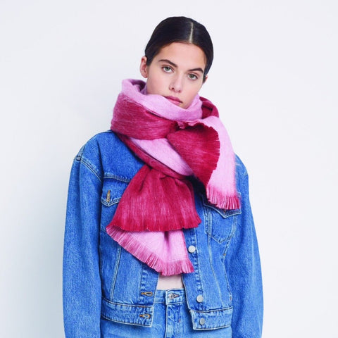 Double Scarf Red Light Pink