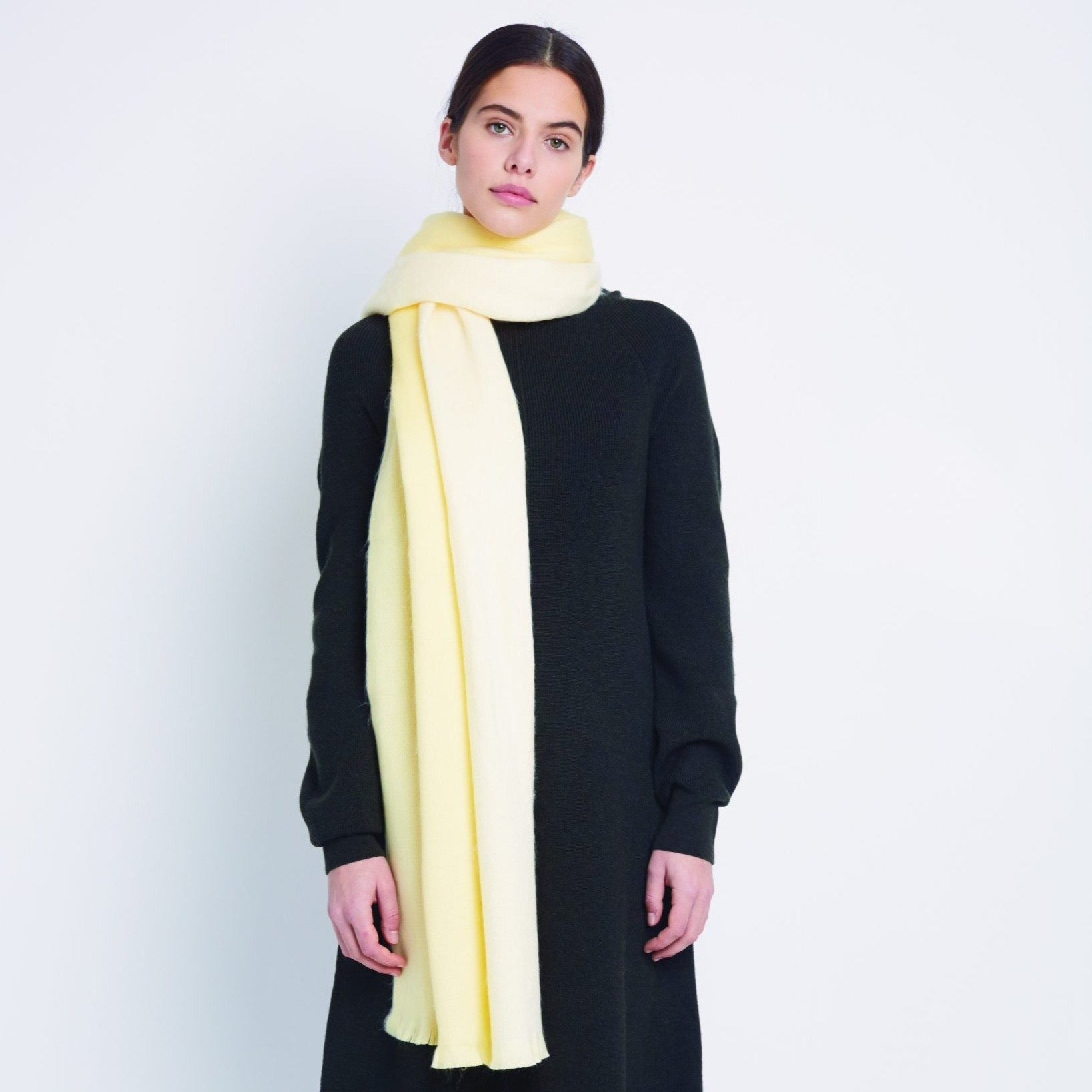 Double Scarf Soft Yellow White
