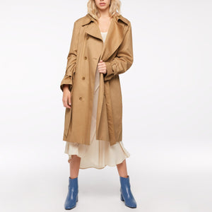 Ezra Vegan Trench Coat Latte