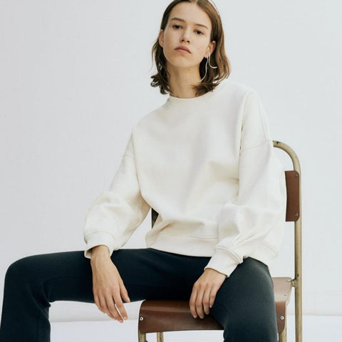 Organic Sweater with Pleated Detail