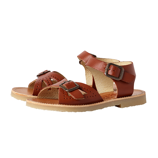 Kids Pearl Sandal Chestnut Brown Leather