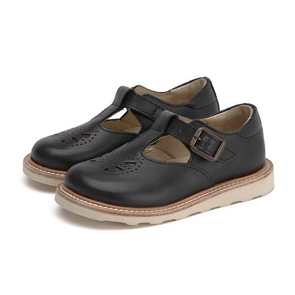 Junior Rosie T-bar Shoe Black Leather