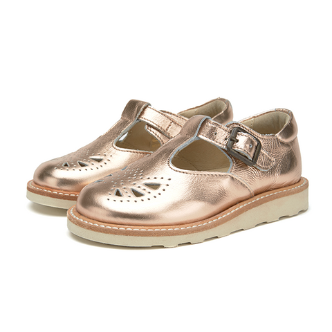 Kids Rosie T-bar Shoe Rose Gold Leather