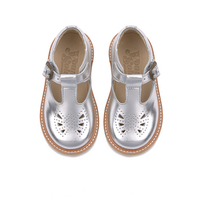 Kids Rosie T-bar Shoe Silver Leather