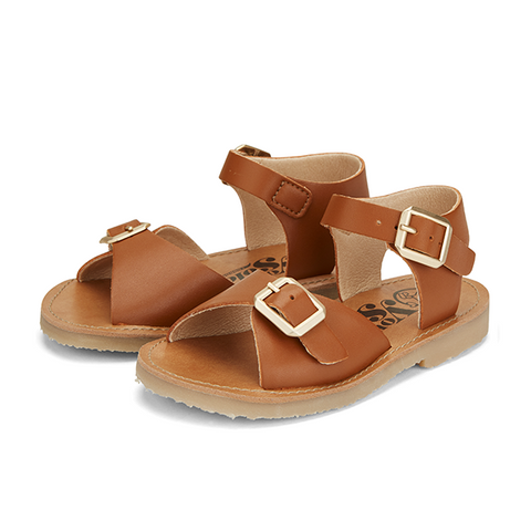 Kids Sonny Vegan Sandal Chestnut Brown Synthetic Leather