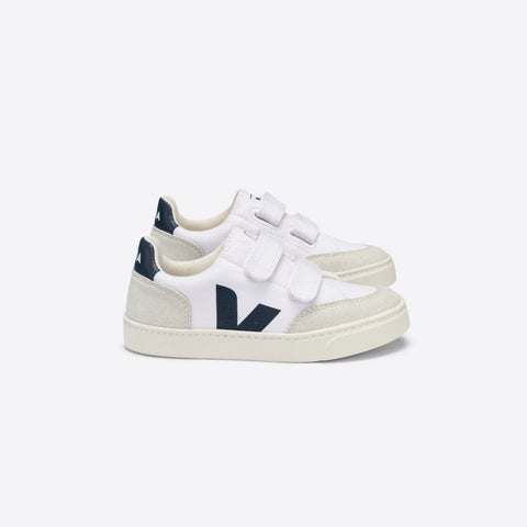 Kids V-12 Velcro Canvas White Nautico Natural