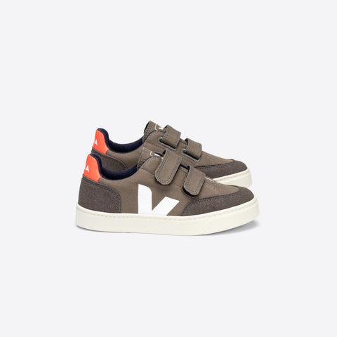 Junior V-12 Velcro Canvas Kaki Pierre Orange-Fluo