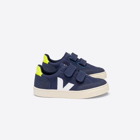 Junior V-12 Velcro Canvas Marine Jaune-Fluo