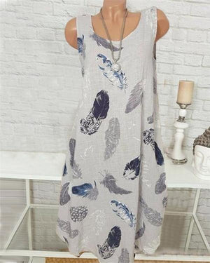 Summer Casual Sleeveless Round Neck Printed Dress