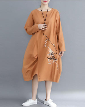 Women Cotton And Linen Embroidery Slim Irregular Long-Sleeved Dress