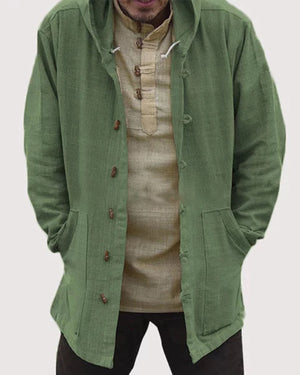 Mens Cotton National Style Vintage Hooded Long Sleeve Pure Color Casual Jacket