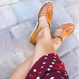 Womens Vintage Casual Summer Flat Heel Pu Buckle Sandals