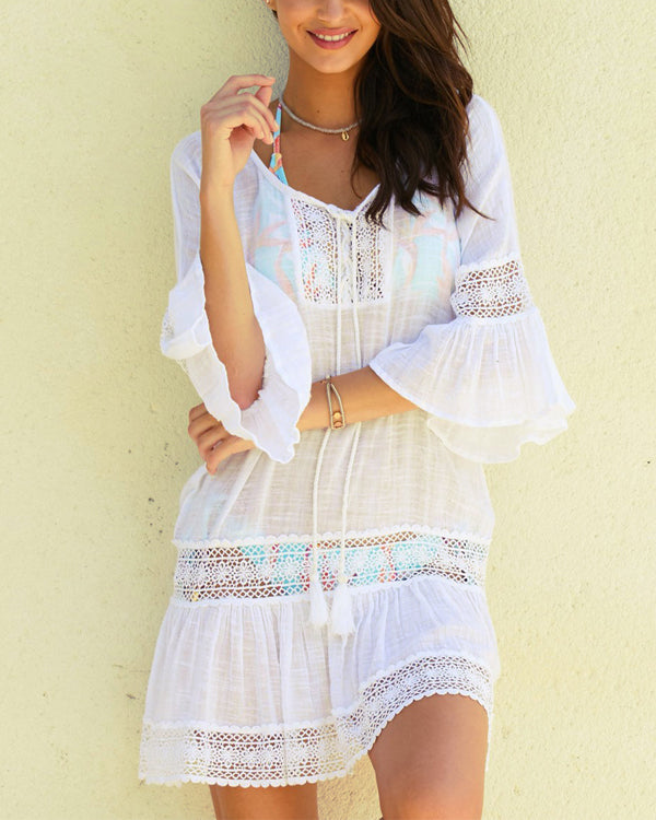 afbad2d691c1 59% OFF. Summer Crew Neck 3/4 Sleeve Lace Vacation Beach Dress