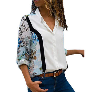Casual Chic Floral Shirt Collar Long Sleeve Plus Size Blouses