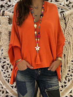 Women Long Sleeve V-neck Soft Shirt Blouse Tops