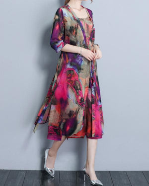 Women 3/4 Sleeve Two Pieces Set Straps Elegant Printed Plus size Dress