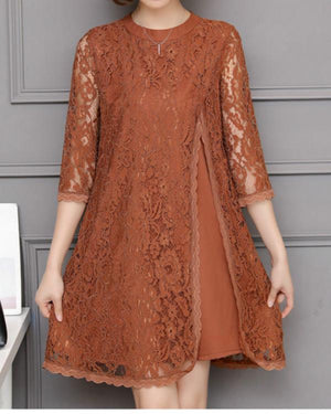 Lace Slid Color Splited Half Sleeve Vintage Plus Size Dress For Women