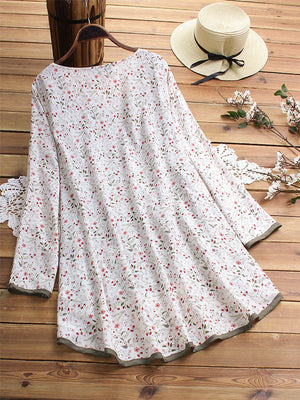 Plus Size Floral Printed Two Piece Suit V Neck Long Sleeve Blouses Tops