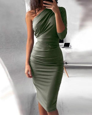 Three-Quarter Sleeve Knee-Length Asymmetric Date Night/Goting Out Plain Dress