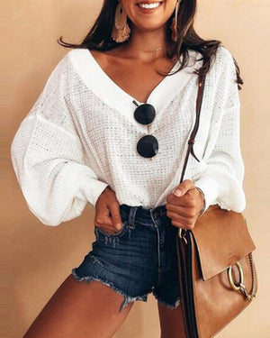 Women Casual Color Simple V-Neck  Long Sleeve Blouse Tops