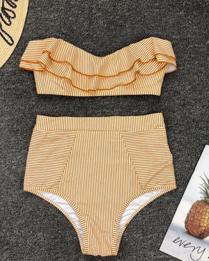Cute Women Stripe Flounce Ruffled High-Waisted Bikini Swimsuits