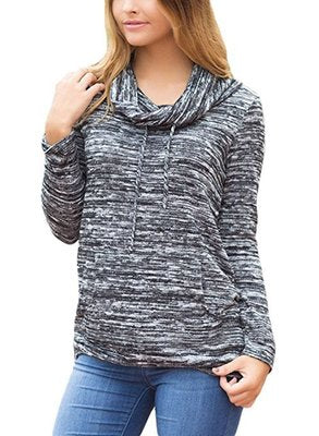 Women Autum O-neck Hoodie pure Color Tops Blouses