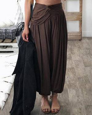 Women Casual Loose Elastic Waist Solid Color Pant