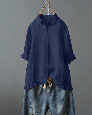 Lace Button Turn Down Collar Solid Color Shirt