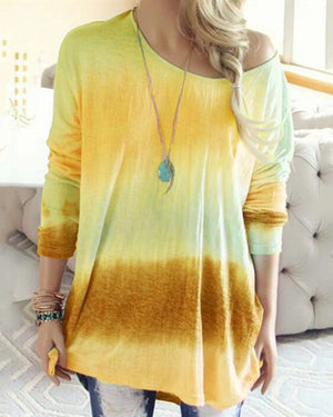 Gradient Round-Neck Long Sleeve Blouses Tops