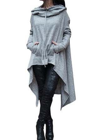 Solid Cotton Casual Long Sleeve Plus Size Hoody