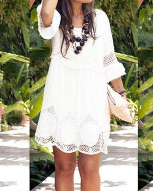 Plus Size White Summer Dress Fashion Half Sleeve Loose Lace Dress