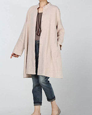 Casual Long Sleeve Cotton-Blend Stand Collar Dress