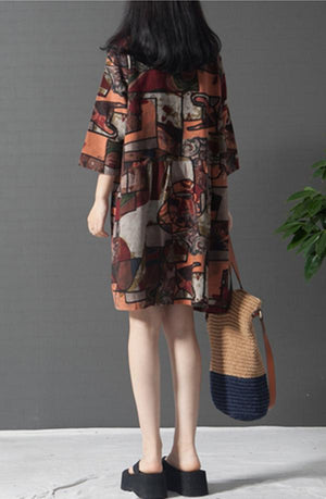 Women Casual Comfort Plus Size Round Neck Printed Dress